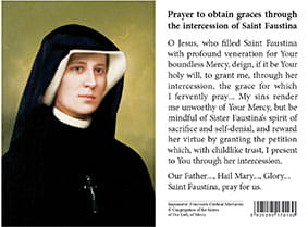 (EN) Plastic Prayer Card - St. Faustina's Portrait
